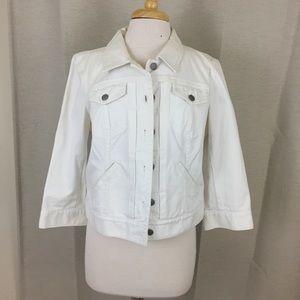 LOFT White Jean Denim Jacket Size 12